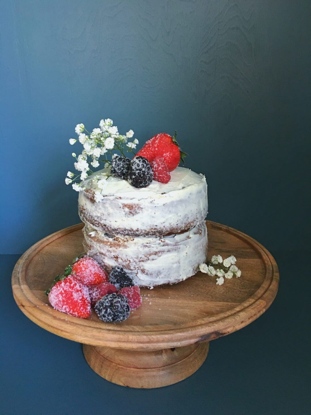 White Christmas Spice Cake with Sugared Berries