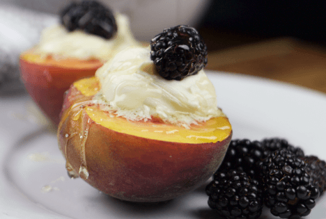 Mascarpone and Blackberry Stuffed Peaches