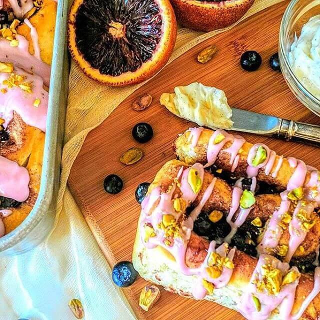 Blueberry Cinnamon Rolls w/ Blood Orange Yogurt Glaze