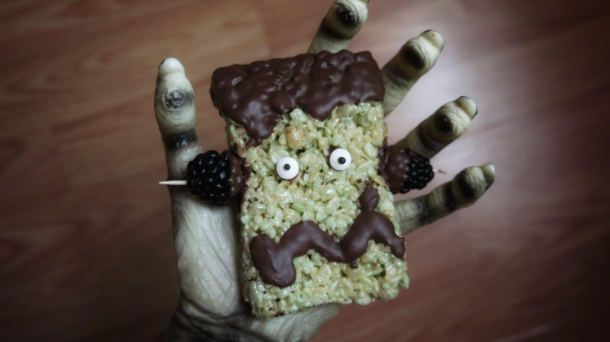 Blueberry Frankenstein Rice Crispy Treats Recipe