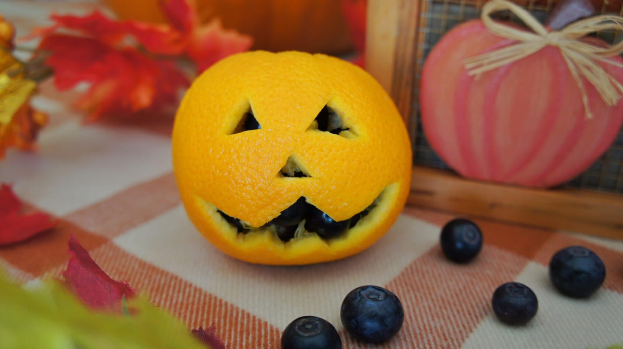 Orange Pumpkin Holder With Wish Farms Blueberries