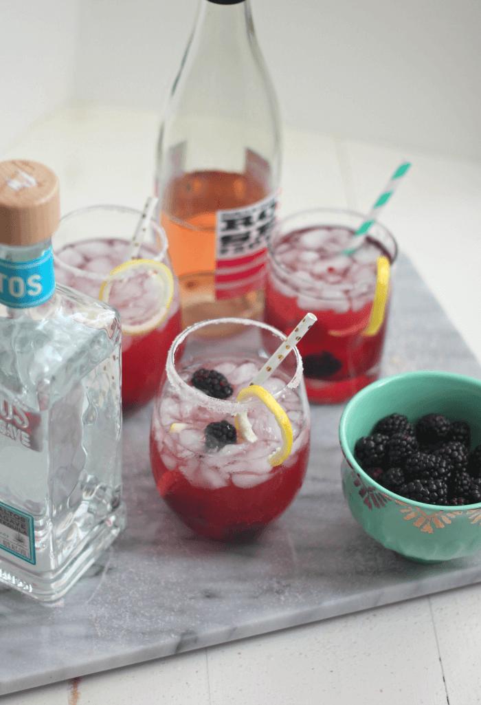 Blackberry Rose Margarita Cocktails